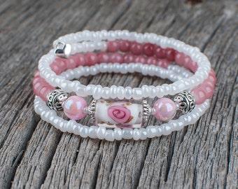 Women bracelet, pink bracelet, bracelet beads, wedding, memory wire, easy to put on, Murano, Helen Trottier, silver, white bracelet, chic
