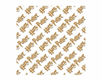 Harry Potter Fabric Diagonal Logo Deep Yellow From Camelot