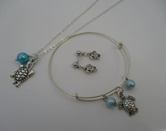 Turtle Pearl Jewelry Set-Turtle jewelry Set-Turtle bracelet-Turtle Earrings-Turtle Necklace-Daughter gift-Turtle-Girls jewelry, N905