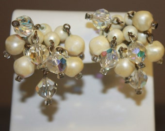 Signed LAGUNA Clip Earrings Faux Pearl & Aurora Borealis Dangle Cluster AB Vintage Estate Jewelry Silver Tone