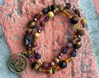 Amber Lotus: Amber, Tiger's Eye and Bronze stretch bracelet set