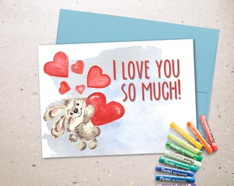 Love greeeting card printable, Valentine card instant download. Sweet romantic card.