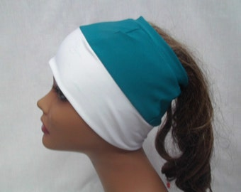 Teal and white ponytail cap