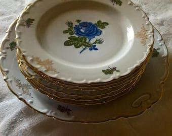 BAVARIA Cake Dessert Service x 6 Decorated gold and Blue rose