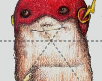Flash-Sloth: 5x7 Print