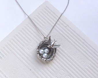 Silver necklace, necklace, silver, long necklace, bird nest necklace, gift