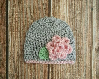 Newborn Hat, Crochet Baby Girl Hat, Girl Flower Hat, Grey & Pink Hat