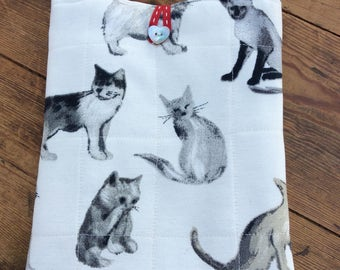 Ipad fabric cover to fit iPad mini. Cats fabric, fully padded and lined with denim fabric.