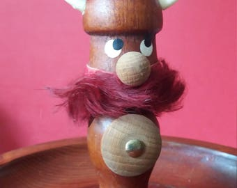 Kitsch wooden viking toothpick holder