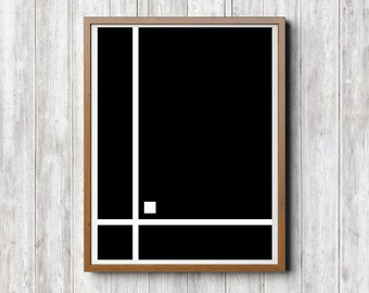 Abstract Illustration, Digital Print Download, Black & White Abstract Drawing geometric Figures, Line Square Stripe, Home Office Hotel Decor