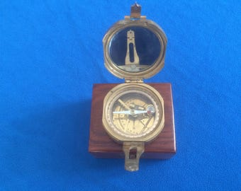 Vintage Brass Compass in box