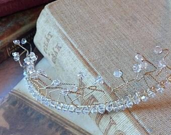 Swarovski Crystal Tiara, Bridal tiara, Clear crystal tiara, Bridesmaid tiara, Crystal and silver tiara, Tiara for veil, Fairy tiara, Winter