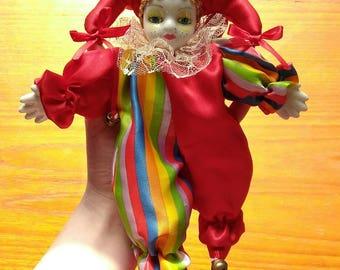 Rainbow Harlequin Jester Doll