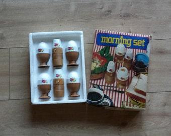 Vintage Morning Set 1950s 1960s Breakfast Set Egg Cups with Salt & Pepper Cruet Set, Vintage Egg Cups, Vintage Cruet Set