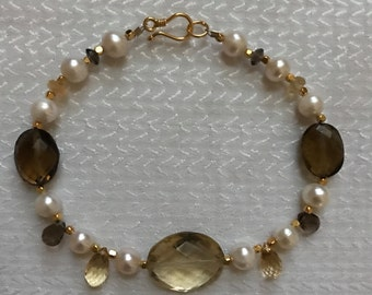 Luscious Citrine, Smoky Quartz and Freshwater Pearl Bracelet