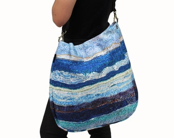 Sale - Waves Design Canvas Beach Tote or messenger bag with a custom leather strap