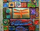 Polymer clay mosaic, decorated wooden box, dragonfly dream