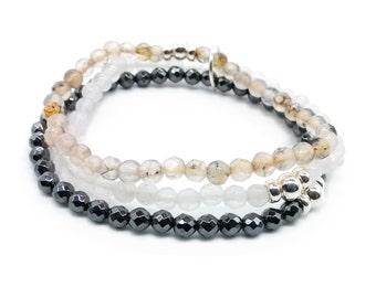 Triple beaded elegant gemstone bracelet/ silver / agate / hematite