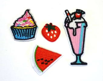 Four Small Mixed Food Iron on Patches or Sew on Patches - Icecream Sundae, Cupcake, Strawberry, Melon - H450