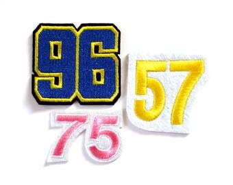 57, 75, 96 Number Iron on or Sew on Patch, Blue, Pink, Yellow - H460