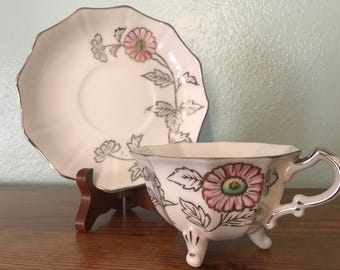Handpainted Footed Teacup and Saucer Set - Pink and Silver
