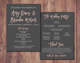 Wedding Order of Service, Pink and Gray Wedding, Wedding Program, Wedding Order of Service, Wedding Ceremony Program, Printable Wedding
