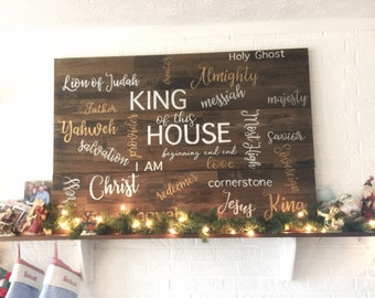 Names of Jesus, large wooden sign, King of this house