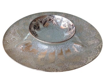 Mid-Century Dorothy Thorpe Textured Sterling Silver Platter and Bowl