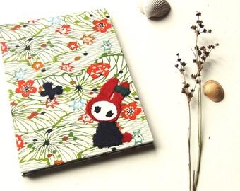 """Accordion Photo Album """"Bunny in Field of Blossoms"""" Katazome shi"""