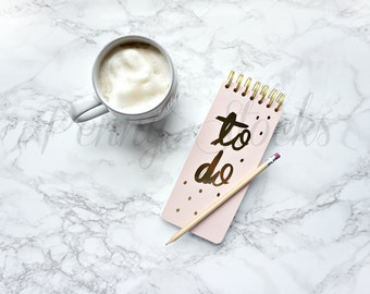 Coffee and To Do List Notebook Styled Stock Photo | Food Styled Stock Photo | Blog Stock Photo | Instagram Stock Photo | Website Stock Photo