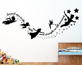Peter Pan - Second Star to the Right - Vinyl Wall Decal / Sticker