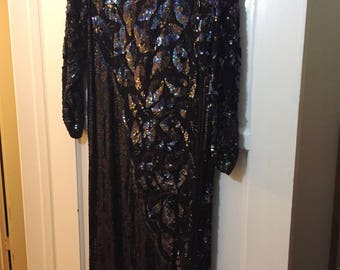 Beautiful 1980s black sequined sheath dress- excellent condition!
