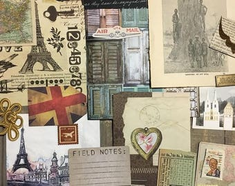Travel Themed Bits and Bobs Collage & Mixed Media Inspiration Ephemera  Box