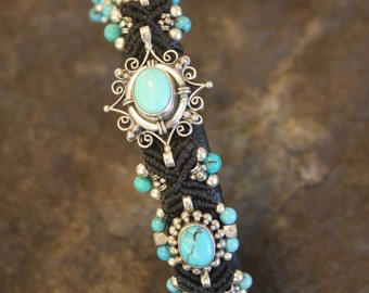 Cuff Turquoise Bracelet with Sterling Silver and Leather