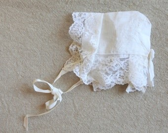 RESERVED White Baby Bonnet Christening Cotton Lace