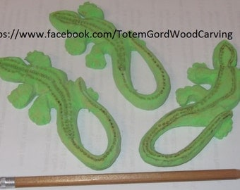 Ginkgo Lizard Hand Carved And Hand Painted Wooden Fridge Magnets Sold Individually/bulk prices available