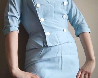 RARE 40's Klever Klad Toronto Vintage Baby Blue Cotton Pinafore Skirt Suit, Size S
