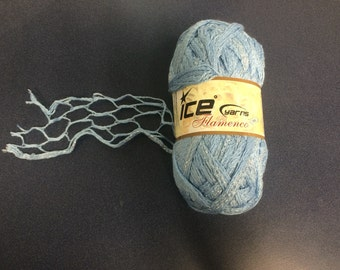 3 skeins light blue Ice specialty ruffle yarn for scarves.