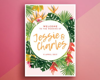 Large wedding welcome sign | Tropical theme | Printable and personalised | Wedding DIY