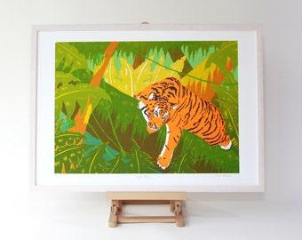 Tiger Screen print A2, limited edition print, silkscreen, art print, tiger print, 5 colour screen print