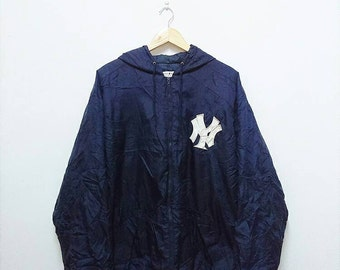 Hot Sale!!! Rare Vintage 90s MAJESTIC NY YANKEES Baseball Embroidery Big Logo Spell Out Hoodie Jacket Hip Hop Skate Swag Extra Large Size