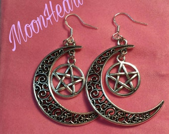 Earrings Moon and pentacle, wicca, wiccan pagan, paganism, pentacle jewelry, jewlery, witch, Moon