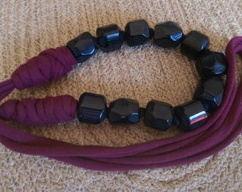 Beautiful chunky bead and maroon t-shirt yarn necklace