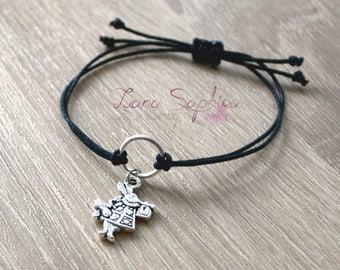 Elegant bracelet black with rabbit (Alice in Wonderland)