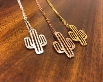 Cactus Necklace - Cactus Pendant - Cactus Charm - Cactus Outline - Cactus Jewelry - Cactus - Cacti Jewelry - Texas Jewelry - Texas Necklace