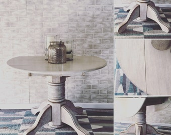 Distressed Cream Painted Pedestal Table
