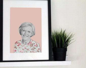Illustrative A4 print - Mary Berry
