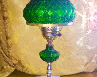 Bright green hurricane lamp