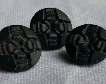 Antique black glass buttons x 3.  1.1 cm