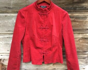 Vintage Velvet Jacket Red Womens Jacket Minimalist Blazer Button Up Jacket Size Small